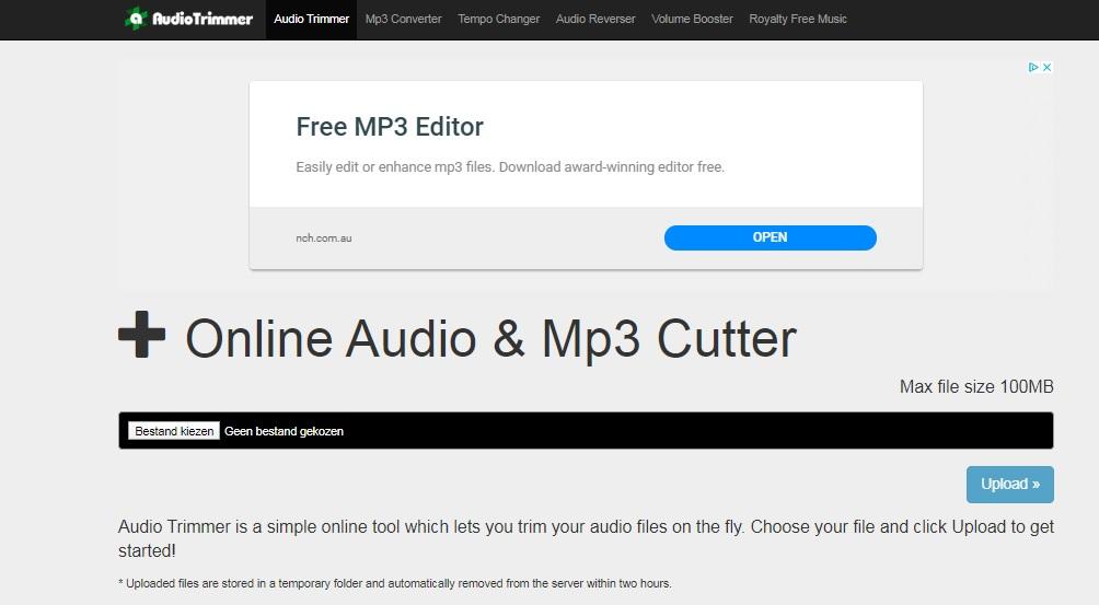 audio versnellen audiotrimmer
