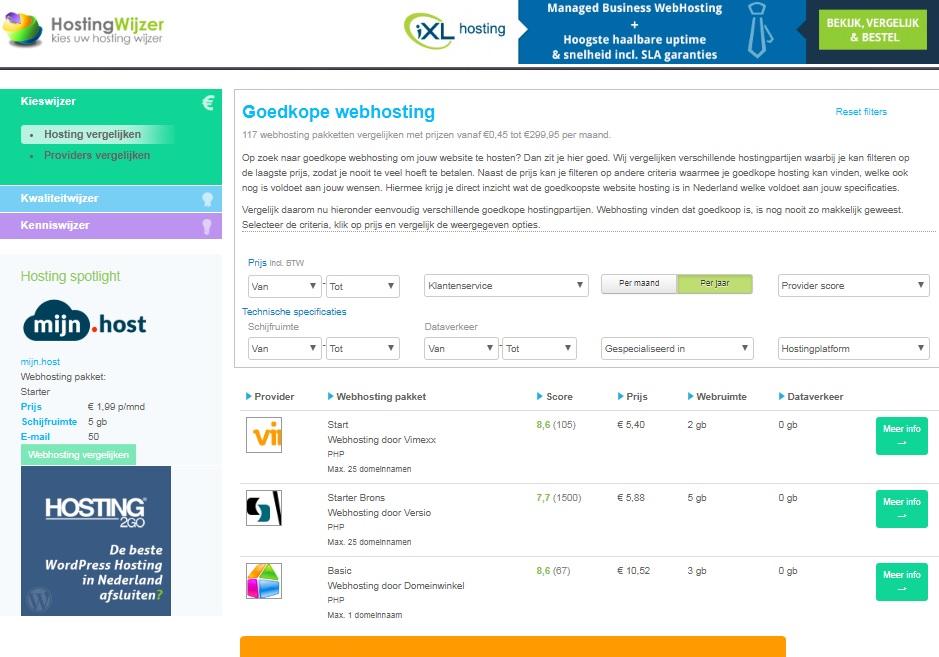 hostingwijzer vergelijk hostingpakketten